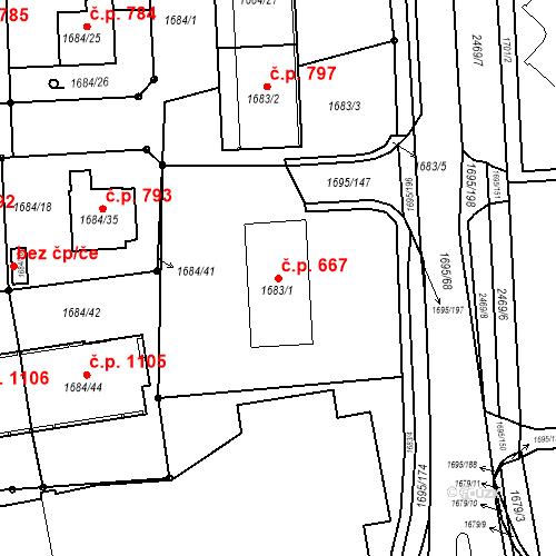 Katastrální mapa Stavební objekt Třeboň II 667, Třeboň