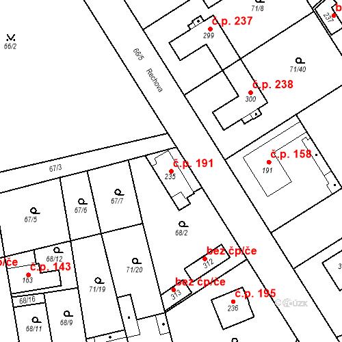 Katastrální mapa Stavební objekt Kojetice 191, Kojetice