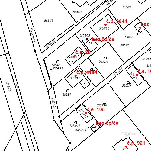 Katastrální mapa Stavební objekt Mělník 4144, Mělník