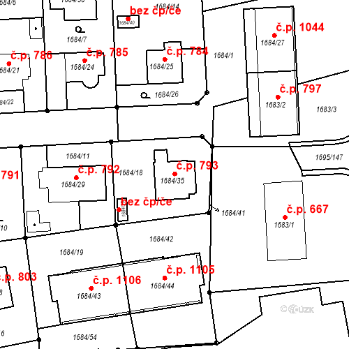 Katastrální mapa Stavební objekt Třeboň II 793, Třeboň