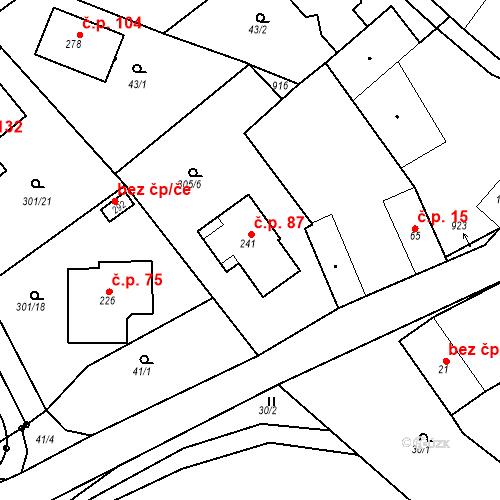 Katastrální mapa Stavební objekt Radějovice 87, Radějovice