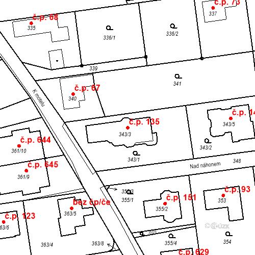 Katastrální mapa Stavební objekt Újezd u Průhonic 135, Praha