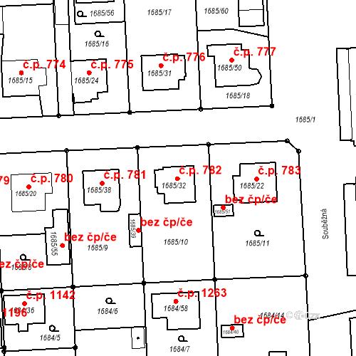 Katastrální mapa Stavební objekt Třeboň II 782, Třeboň