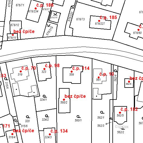 Katastrální mapa Stavební objekt Újezd u Průhonic 114, Praha