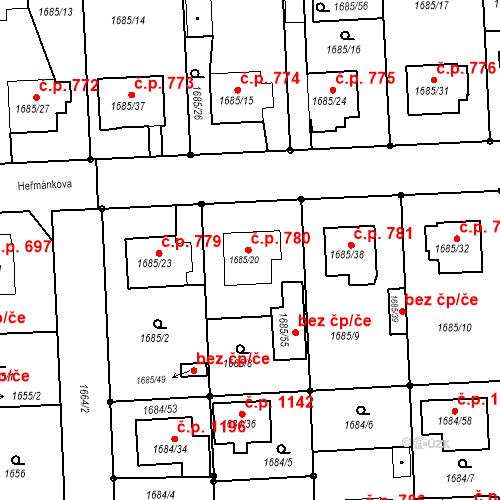 Katastrální mapa Stavební objekt Třeboň II 780, Třeboň