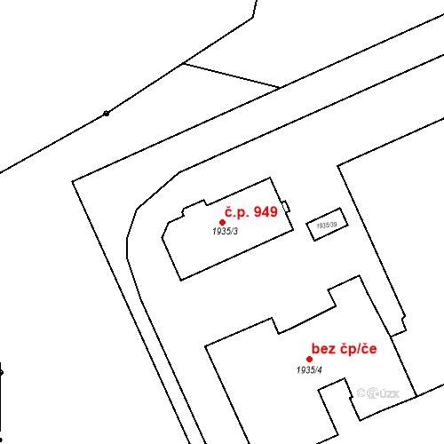 Katastrální mapa Stavební objekt Kbely 949, Praha