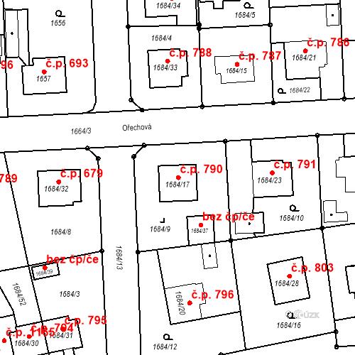 Katastrální mapa Stavební objekt Třeboň II 790, Třeboň