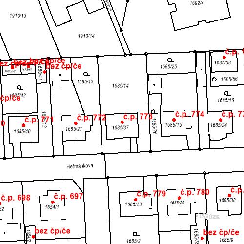 Katastrální mapa Stavební objekt Třeboň II 773, Třeboň