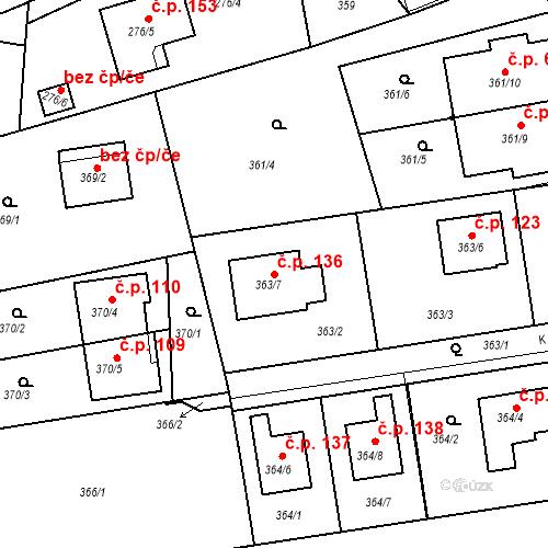 Katastrální mapa Stavební objekt Újezd u Průhonic 136, Praha