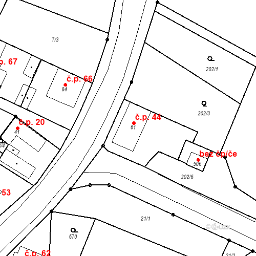 Katastrální mapa Stavební objekt Byškovice 44, Neratovice