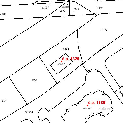 Katastrální mapa Stavební objekt Třeboň II 1326, Třeboň