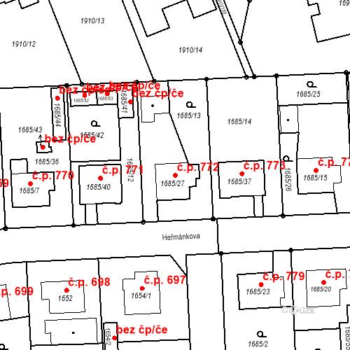 Katastrální mapa Stavební objekt Třeboň II 772, Třeboň