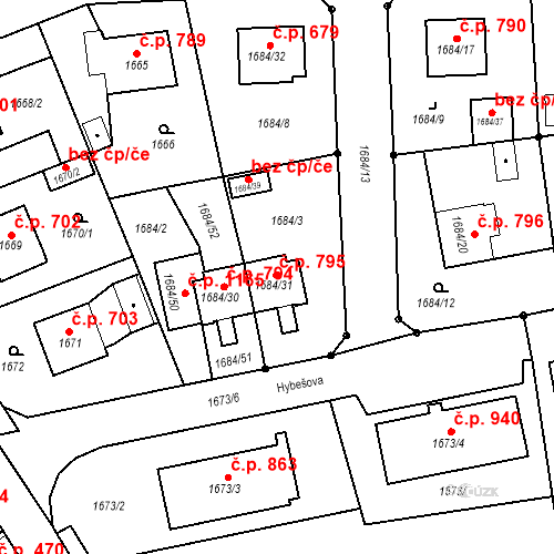 Katastrální mapa Stavební objekt Třeboň II 795, Třeboň