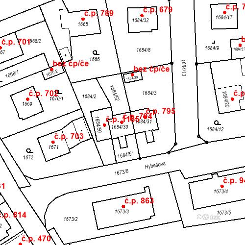 Katastrální mapa Stavební objekt Třeboň II 794, Třeboň