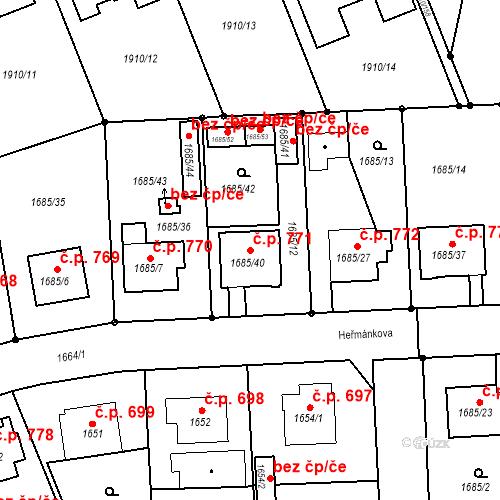 Katastrální mapa Stavební objekt Třeboň II 771, Třeboň