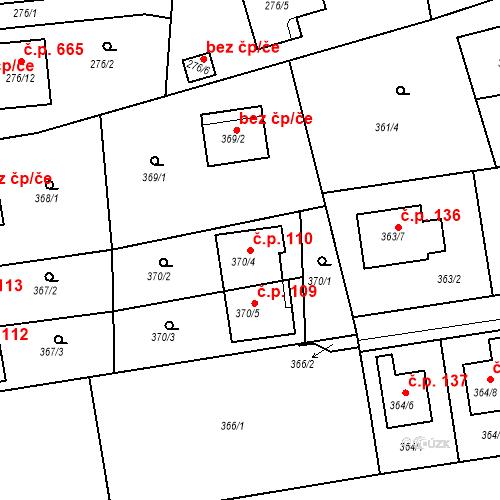 Katastrální mapa Stavební objekt Újezd u Průhonic 110, Praha