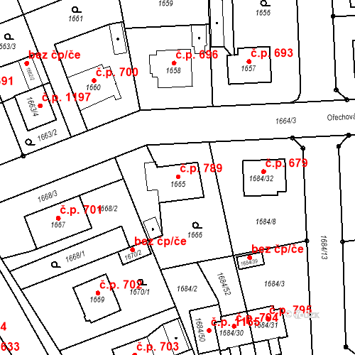 Katastrální mapa Stavební objekt Třeboň II 789, Třeboň