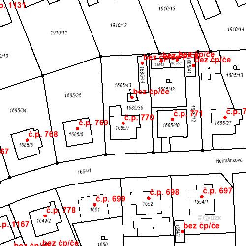 Katastrální mapa Stavební objekt Třeboň II 770, Třeboň