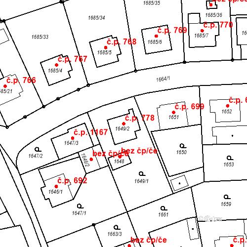 Katastrální mapa Stavební objekt Třeboň II 778, Třeboň