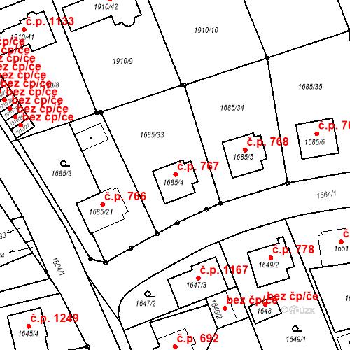 Katastrální mapa Stavební objekt Třeboň II 767, Třeboň