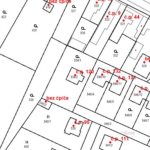 Katastrální mapa Stavební objekt Újezd u Průhonic 120, Praha