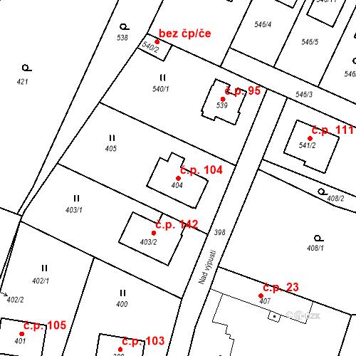 Katastrální mapa Stavební objekt Újezd u Průhonic 104, Praha