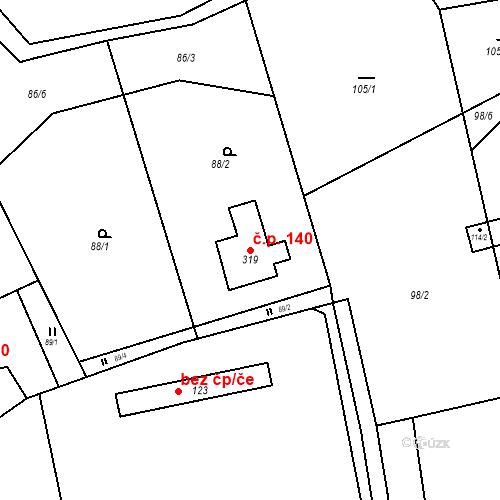 Katastrální mapa Stavební objekt Osnice 140, Jesenice