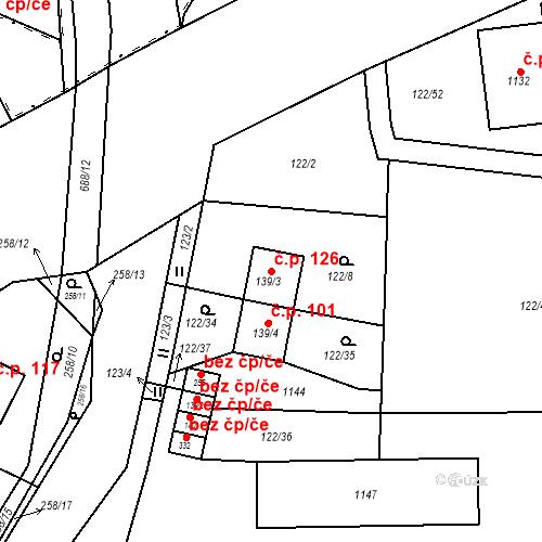 Katastrální mapa Stavební objekt Osnice 126, Jesenice