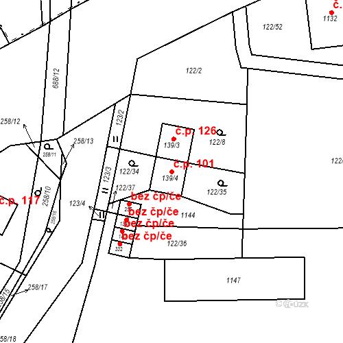 Katastrální mapa Stavební objekt Osnice 101, Jesenice