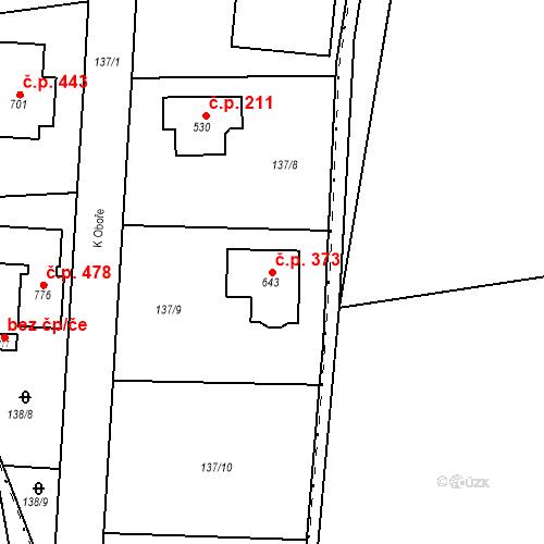 Katastrální mapa Stavební objekt Osnice 373, Jesenice
