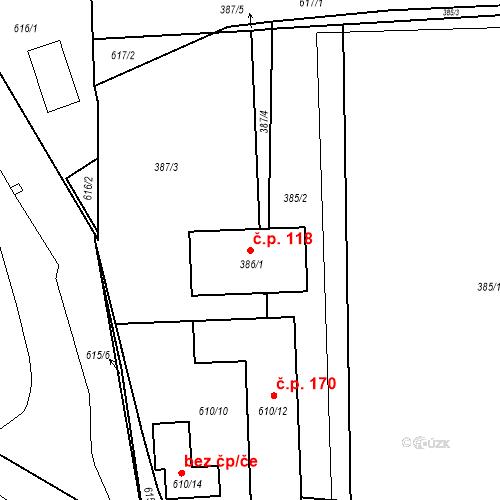 Katastrální mapa Stavební objekt Újezd u Průhonic 118, Praha