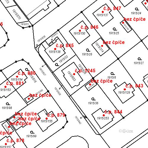 Katastrální mapa Stavební objekt Třeboň II 1245, Třeboň