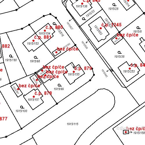 Katastrální mapa Stavební objekt Třeboň II 879, Třeboň