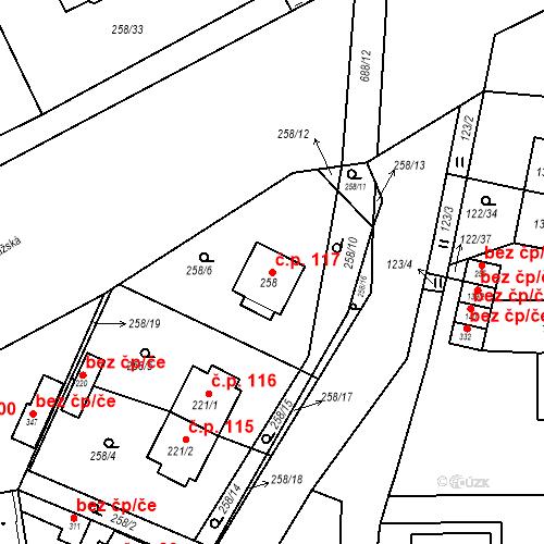 Katastrální mapa Stavební objekt Osnice 117, Jesenice