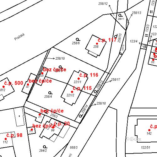 Katastrální mapa Stavební objekt Osnice 116, Jesenice