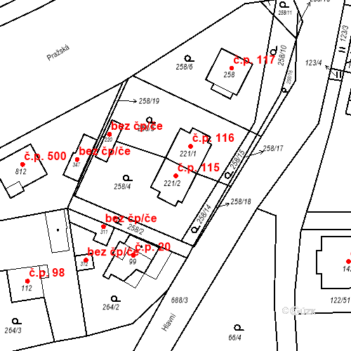 Katastrální mapa Stavební objekt Osnice 115, Jesenice