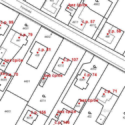 Katastrální mapa Stavební objekt Újezd u Průhonic 107, Praha
