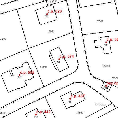 Katastrální mapa Stavební objekt Osnice 374, Jesenice