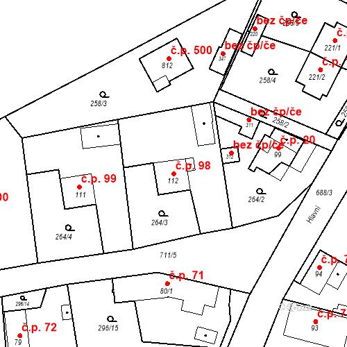 Katastrální mapa Stavební objekt Osnice 98, Jesenice