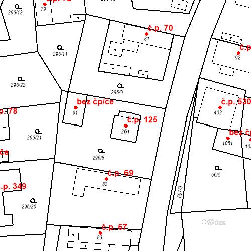 Katastrální mapa Stavební objekt Osnice 125, Jesenice