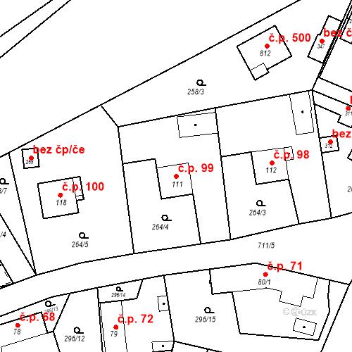 Katastrální mapa Stavební objekt Osnice 99, Jesenice