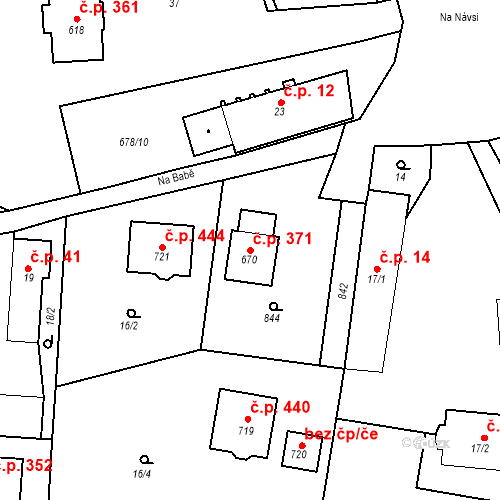 Katastrální mapa Stavební objekt Osnice 371, Jesenice