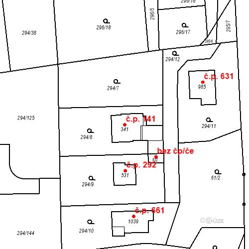 Katastrální mapa Stavební objekt Osnice 141, Jesenice