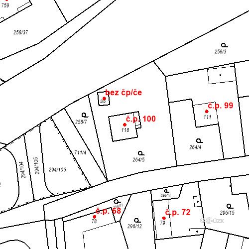 Katastrální mapa Stavební objekt Osnice 100, Jesenice