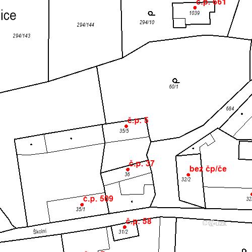 Katastrální mapa Stavební objekt Osnice 5, Jesenice