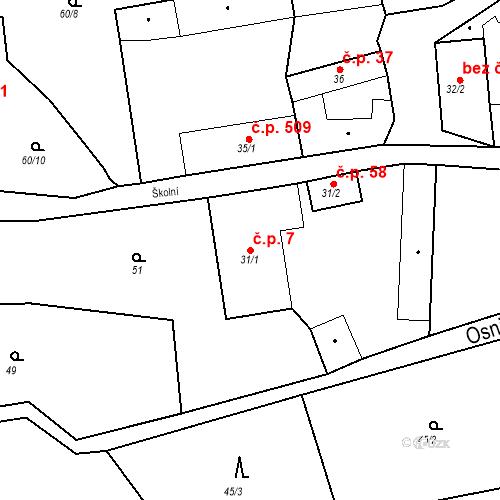 Katastrální mapa Stavební objekt Osnice 7, Jesenice