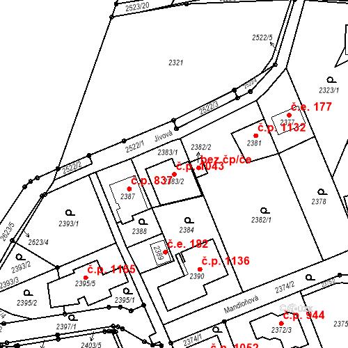 Katastrální mapa Stavební objekt Hloubětín 1043, Praha