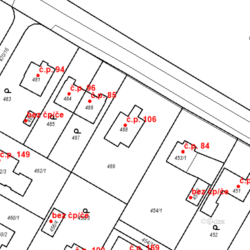 Katastrální mapa Stavební objekt Újezd u Průhonic 106, Praha