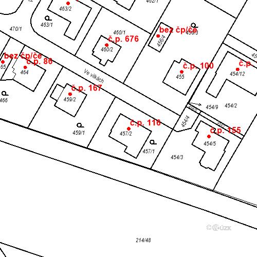 Katastrální mapa Stavební objekt Újezd u Průhonic 116, Praha