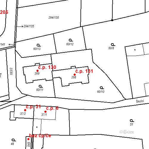 Katastrální mapa Stavební objekt Osnice 131, Jesenice